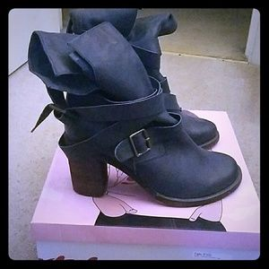 Jeffrey Campbell blue leather boots( worn twice)
